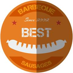 Flat design bbq, grill; sausages; restaurant; steak; retro vintage badges, ribbons and labels hipster signboard