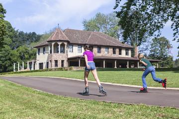Girls Rollerblade Skating