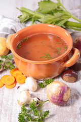 soup and raw vegetable