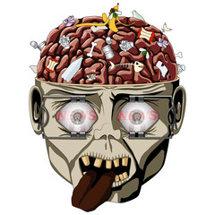 Zombie open the skull, brain seen and a lot of debris, wide eyes expanders, watches the news media