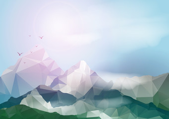 Geometric Mountain Background - Vector Illustration