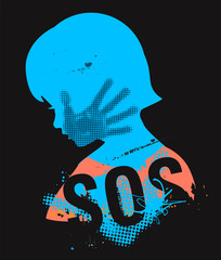 SOS Violence against children. Little girl head grunge silhouette with with hand print after hand slap and sign SOS. Illustration on the black background.. Vector available.