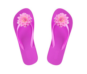 pink beach shoes with flowers isolated on white