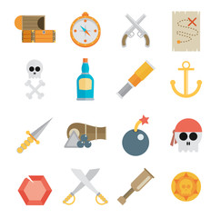 Pirate accessories symbols flat icons collection