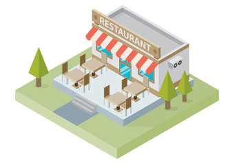 Flat isometric restaurant building with tables and chairs