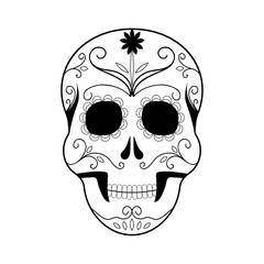 Day of The Dead colorful Skull with floral ornament. Halloween logo