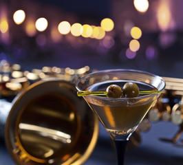 martini and saxophone