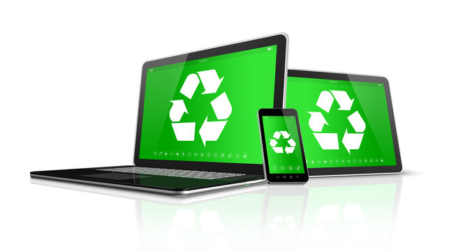 Laptop tablet PC and smartphone with a recycling symbol on scree