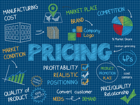 PRICING Vector Graphic Notes on Blue Background