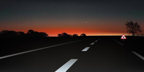 Paysage route nocturne2