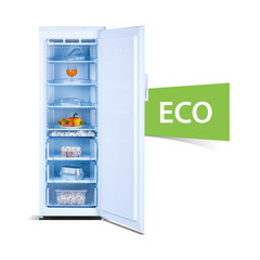 Freezer on white background, open, front view, with fresh food, isolated, ecology, ECO