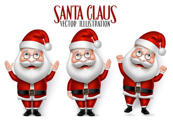 Set of 3D Realistic Santa Claus Cartoon Character for Christmas Saying Hello Isolated in White Background. Vector Illustration