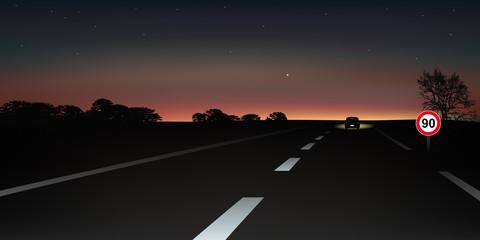 Paysage route nocturne1