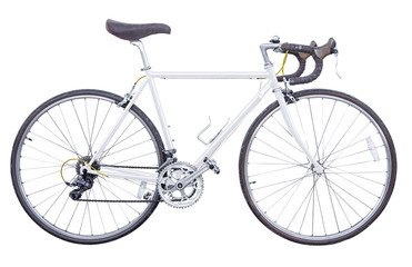 vintage white road bike isolated