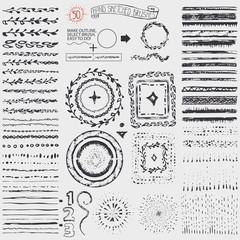 Doodle pattern brushes,wreath,frame,burst.Black