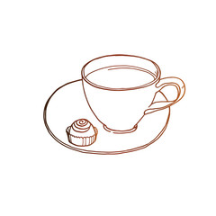 Coffee cup with candy at saucer vector sketch