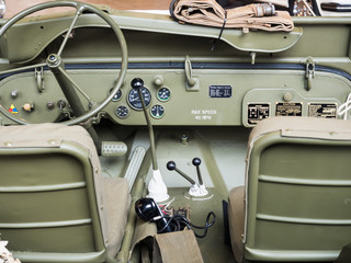 Dashboard of an old military jeep.