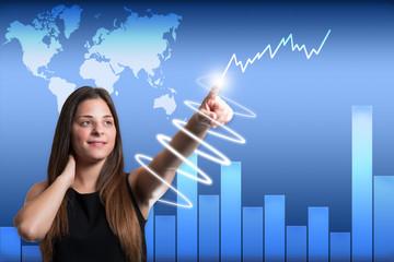 Frau zeigt auf Börsen Chart