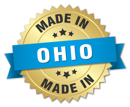 made in Ohio gold badge with blue ribbon