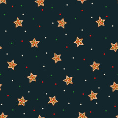 Seamless star pattern with Christmas gingerbread cookies - xmas star and colorful confetti. Cute winter holiday vector design xmas background.