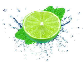 lime splash  and mint isolated on white background