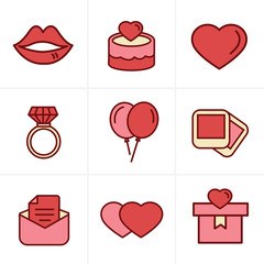 Icons Style Wedding Icons Set, Vector Design