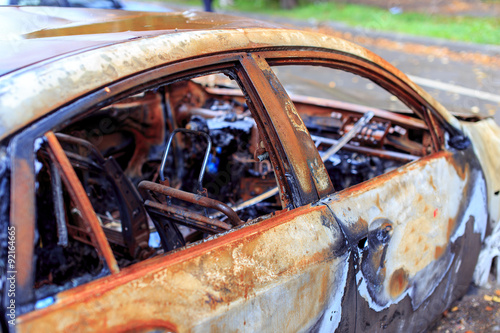 burned luxury car the interior of of an expensive car damaged by arson fotos de archivo e. Black Bedroom Furniture Sets. Home Design Ideas