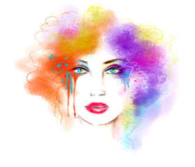 Multicolored abstract portrait beautiful woman . Illustration . Digital painting