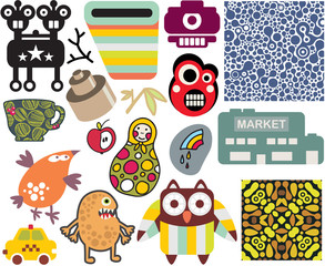 Mix of different vector images. vol.61