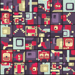 Robot seamless pattern in puzzle