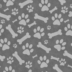 Gray Dog Paw Prints and Bones Tile Pattern Repeat Background
