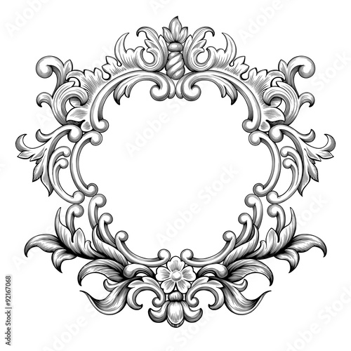 Vintage baroque frame border leaf scroll floral ornament engraving vintage baroque frame border leaf scroll floral ornament engraving retro flower pattern antique style swirl decorative m4hsunfo