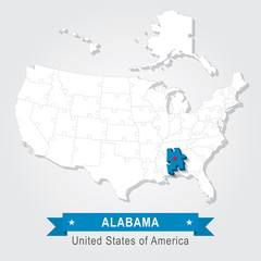 Alabama state. USA administrative map.