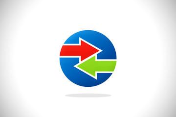 arrow colored round logo