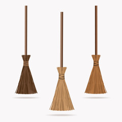Set of the brooms. Vector illustration.