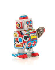 Retro Robot on a White Background