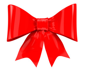 Red gift bow. Isolated on white background.