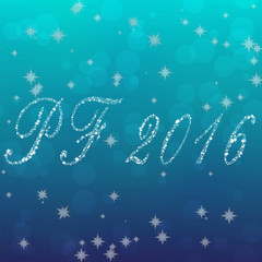 Happy New Year 2016 made of snowflakes