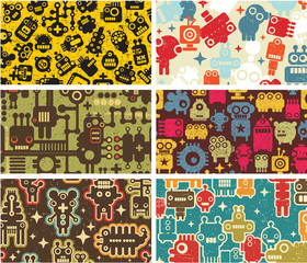 Six business card covers with robots.