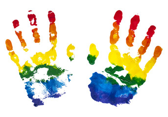 Colorful rainbow children handprints painted with gouache for the expression of friendship isolated on white.