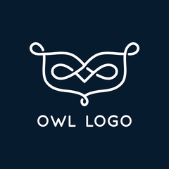 Owl logo with curls. Vector.