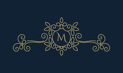 Elegant floral monogram logo design template with letter M. Lineart vector illustration
