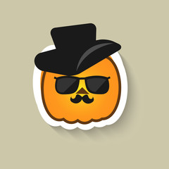 Pumpkin hipster in sunglasses and hat