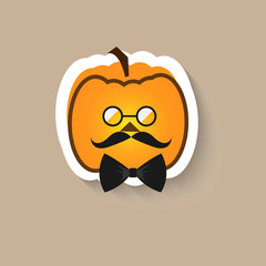 Pumpkin hipster round glasses and bow tie