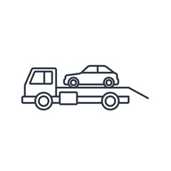 Tow car evacuation outline icon