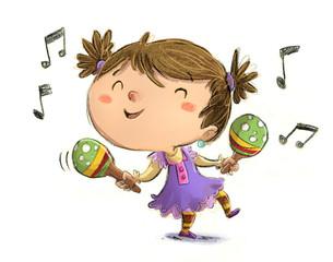 niña bailando con maracas
