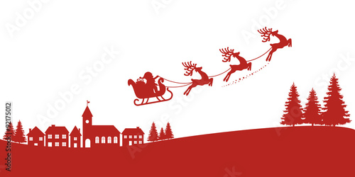 santa sleigh reindeer flying red silhouette stock image and royalty
