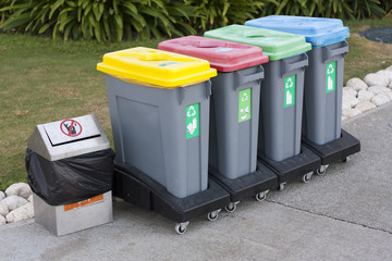 Colorful Recycle Bins photo