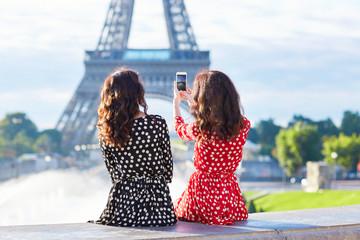 Beautiful twin sisters in Paris, France