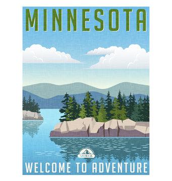 Retro style travel poster or sticker. United States, Minnesota scenic lake